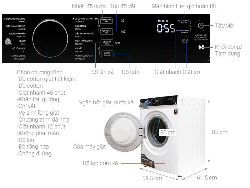 Thông số kỹ thuật Máy giặt Toshiba Inverter 9.5 kg TW-BH105M4V WK