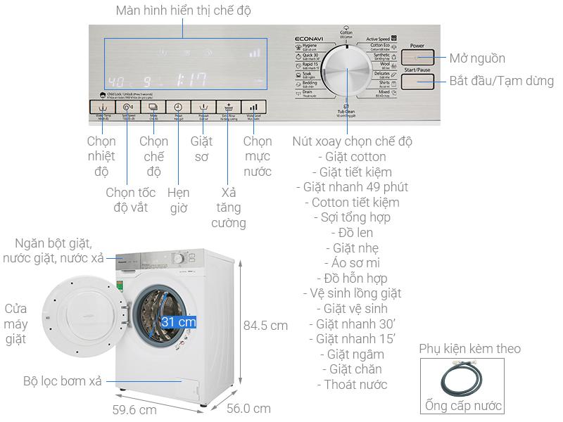 Thông số kỹ thuật Máy giặt Panasonic Inverter 9 Kg NA-129VG6WV2