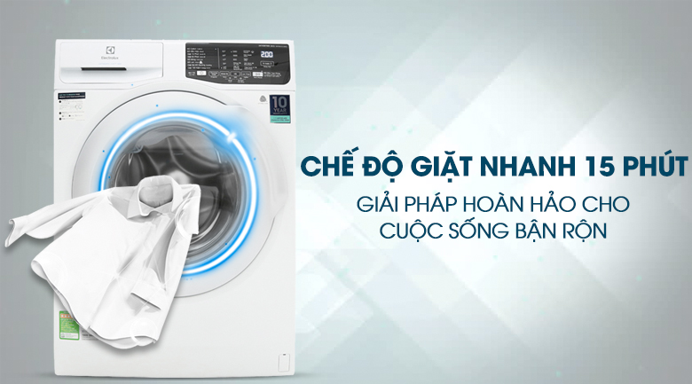 Giặt nhanh 15 phút - Máy giặt Electrolux Inverter 8 kg EWF8025CQWA