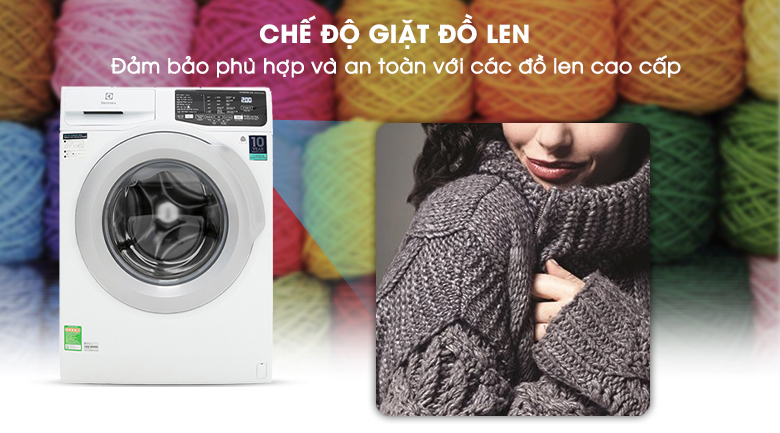 Chế độ giặt đồ len - Máy giặt Electrolux Inverter 8 kg EWF8025CQWA