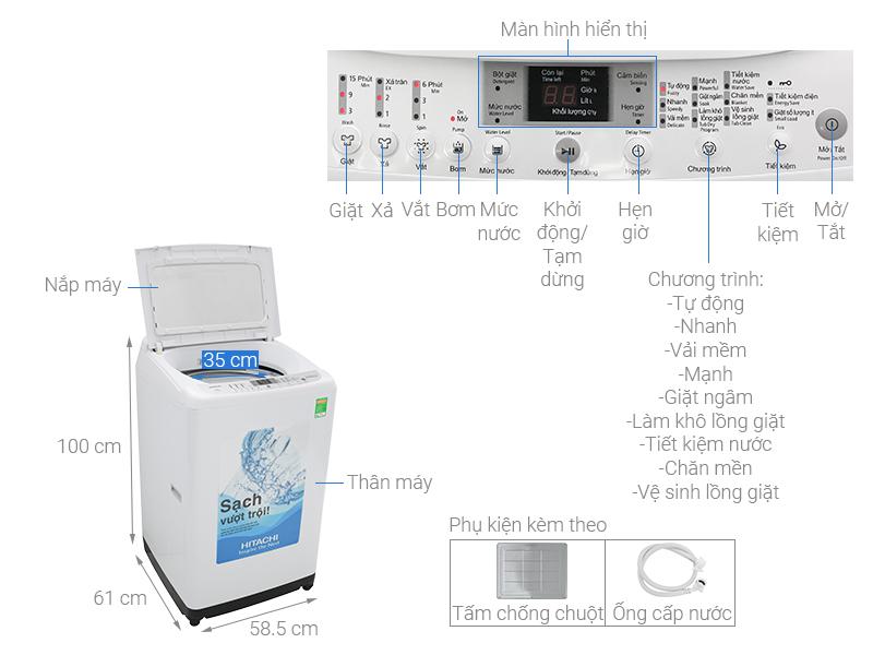 Thông số kỹ thuật Máy giặt Hitachi 9.5 Kg SF-S95XC