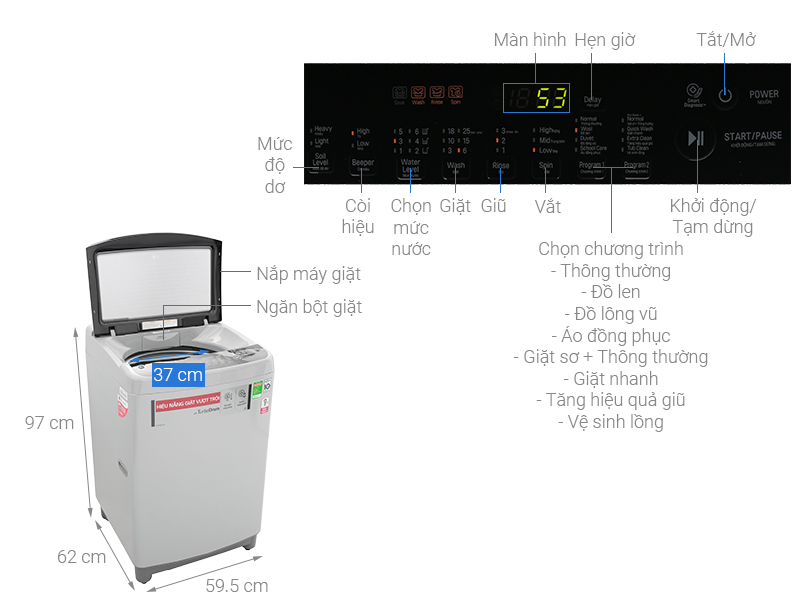 Thông số kỹ thuật Máy giặt LG Inverter 9 Kg T2309VS2M