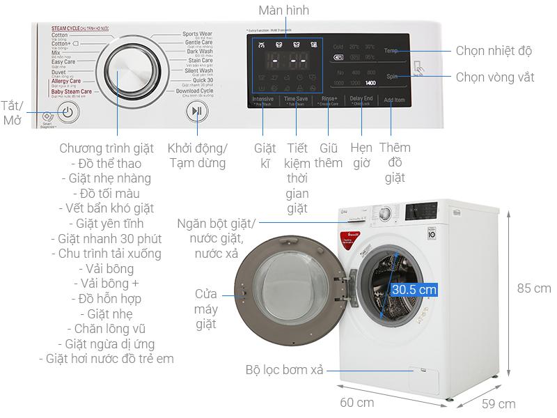 Thông số kỹ thuật Máy giặt LG Inverter 8 Kg FC1408S4W3