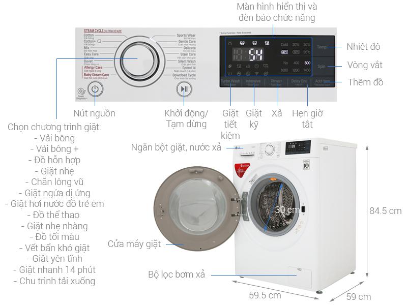 Thông số kỹ thuật Máy giặt LG Inverter 9 kg FC1409S3W1