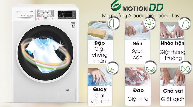 Giặt 6 chuyển động - Máy giặt LG Inverter 9 kg FC1409S3W1