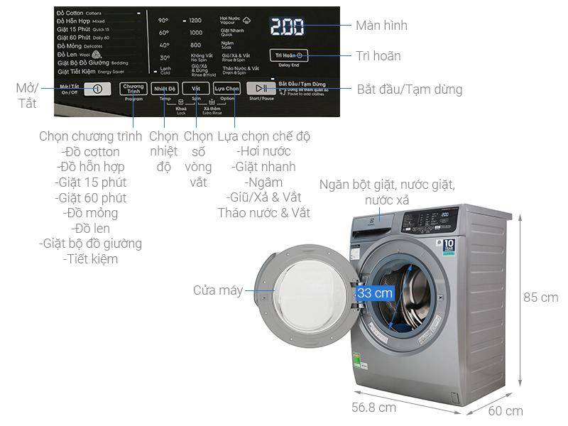 Thông số kỹ thuật Máy giặt Electrolux Inverter 8 kg EWF8025CQSA