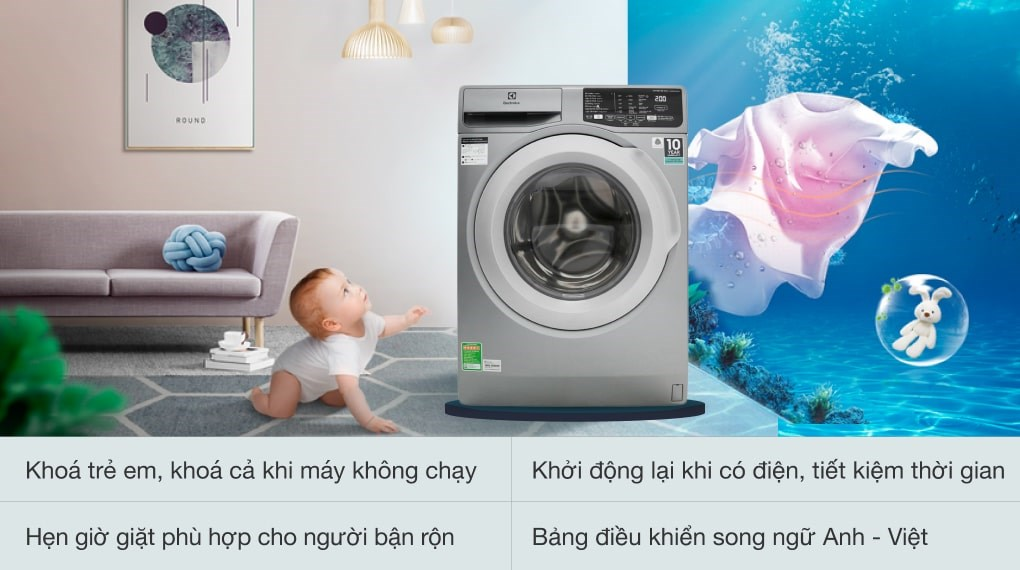 Chế độ giặt đồ len - Máy giặt Electrolux Inverter 8 kg EWF8025CQSA