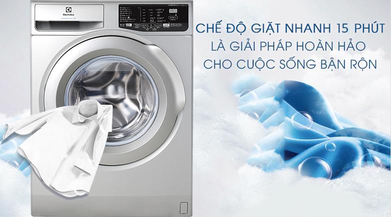 Giặt nhanh 15 phút - Máy giặt Electrolux Inverter 8 kg EWF8025CQSA