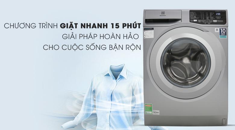 Giặt nhanh 15 phút - Máy giặt Electrolux Inverter 9 Kg EWF9025BQSA