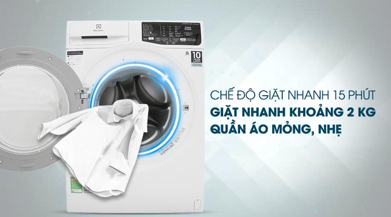 Giặt nhanh 15 phút - Máy giặt Electrolux Inverter 7.5 Kg EWF7525DQWA