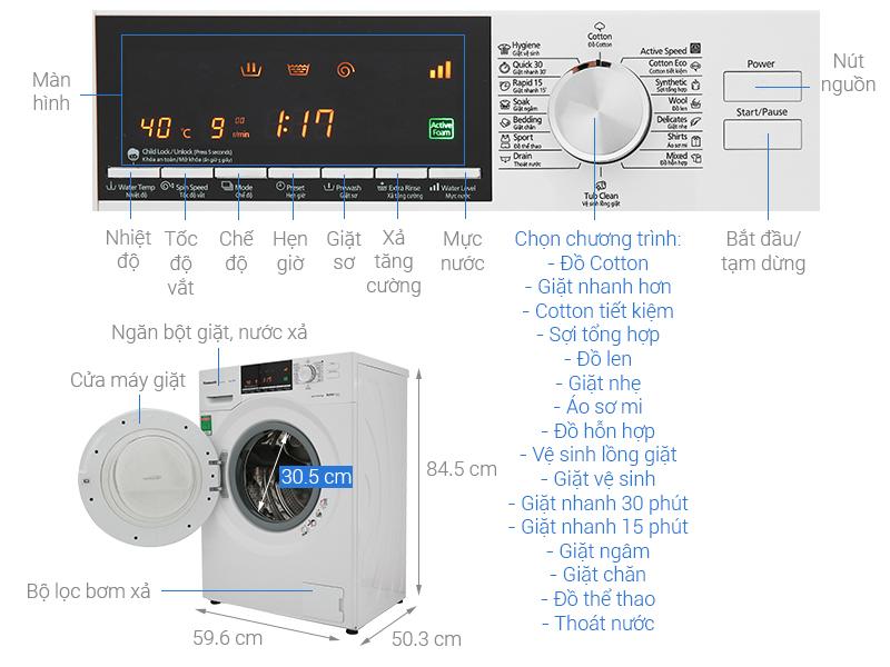 Thông số kỹ thuật Máy giặt Panasonic Inverter 8 Kg NA-128VG6WV2
