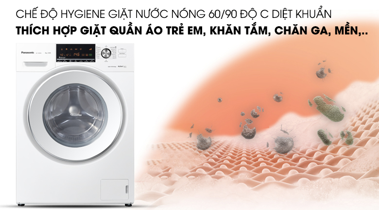 Giặt nước nóng Hygiene - Máy giặt Panasonic Inverter 8 Kg NA-128VG6WV2