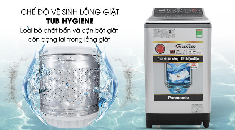 Vệ sinh lồng giặt tự động - Máy giặt Panasonic Inverter 11.5 Kg NA-FS11V7LRV