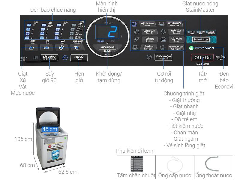Thông số kỹ thuật Máy giặt Panasonic Inverter 11.5 Kg NA-FS11X7LRV