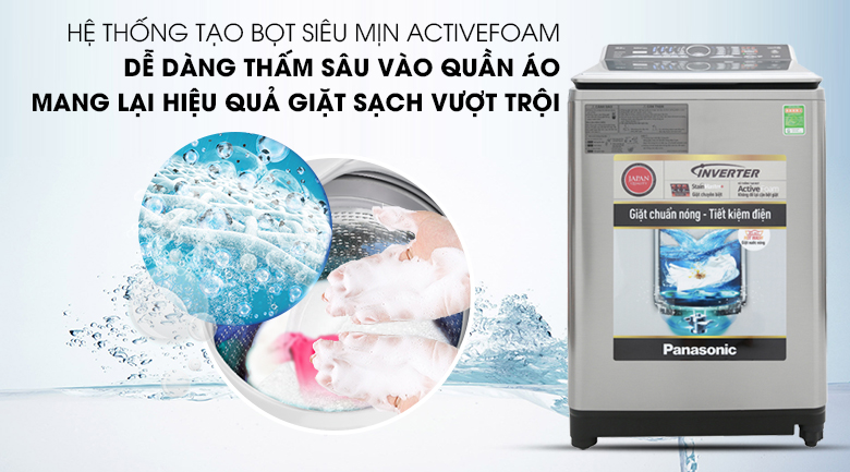 Hệ thống tạo bọt ActiveFoam - Máy giặt Panasonic Inverter 13.5 Kg NA-FS13V7SRV