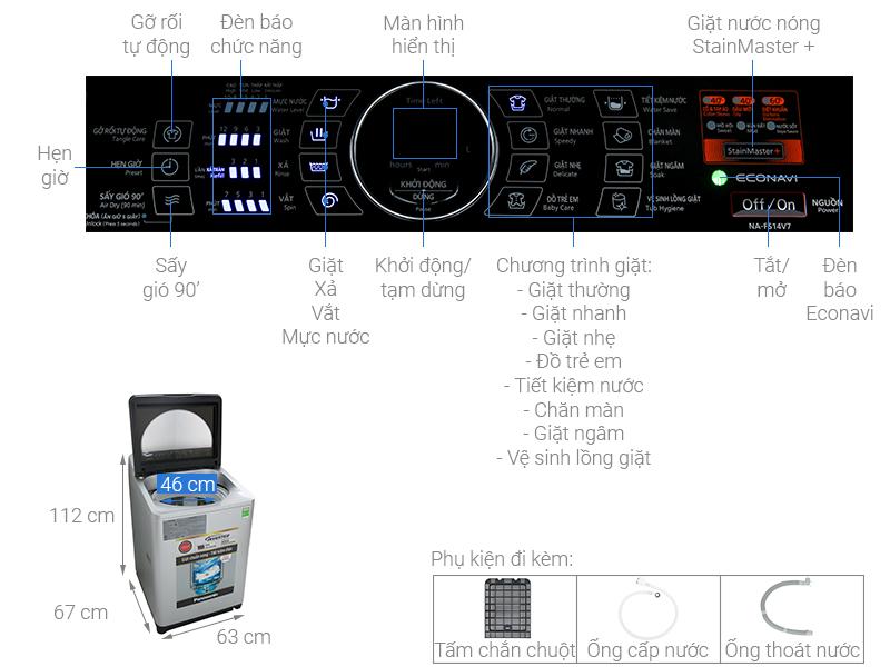 Thông số kỹ thuật Máy giặt Panasonic Inverter 14 Kg NA-FS14V7SRV