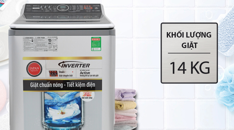 Khối lượng giặt 14 kg - Máy giặt Panasonic Inverter 14 Kg NA-FS14V7SRV