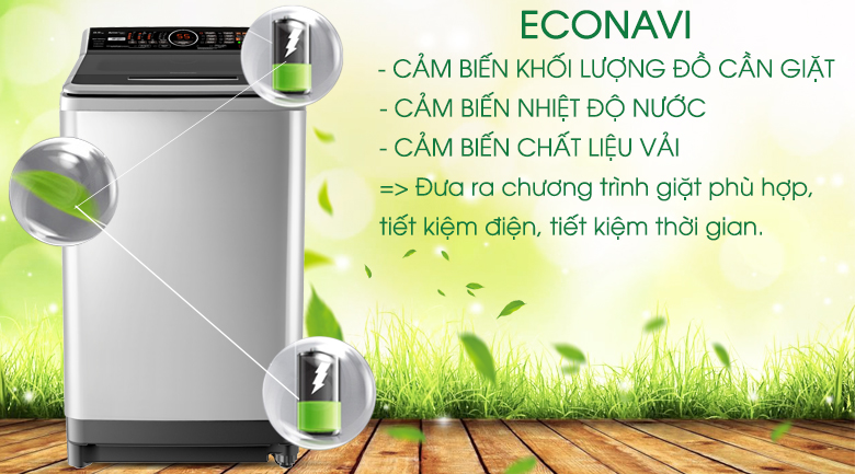 Cảm biến Econavi - Máy giặt Panasonic Inverter 10 Kg NA-FS10X7SRV