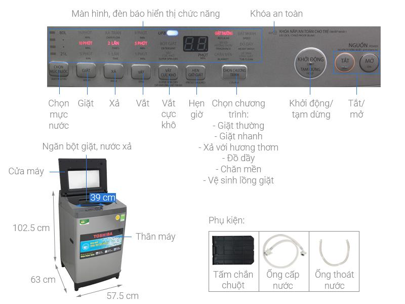 Thông số kỹ thuật Máy giặt Toshiba 10.5 Kg AW-UH1150GV DS