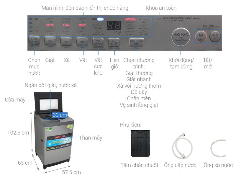 Thông số kỹ thuật Máy giặt Toshiba Inverter 10.5 Kg AW-UH1150GV DS