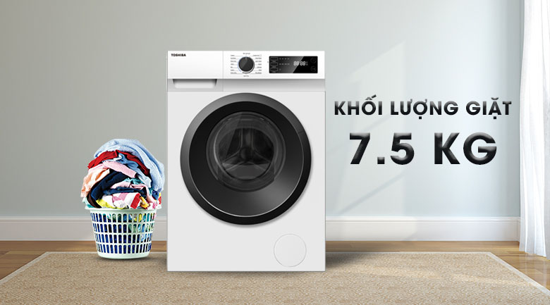Khối lượng giặt 7.5 kg - Máy giặt Toshiba Inverter 7.5 Kg TW-BH85S2V WK