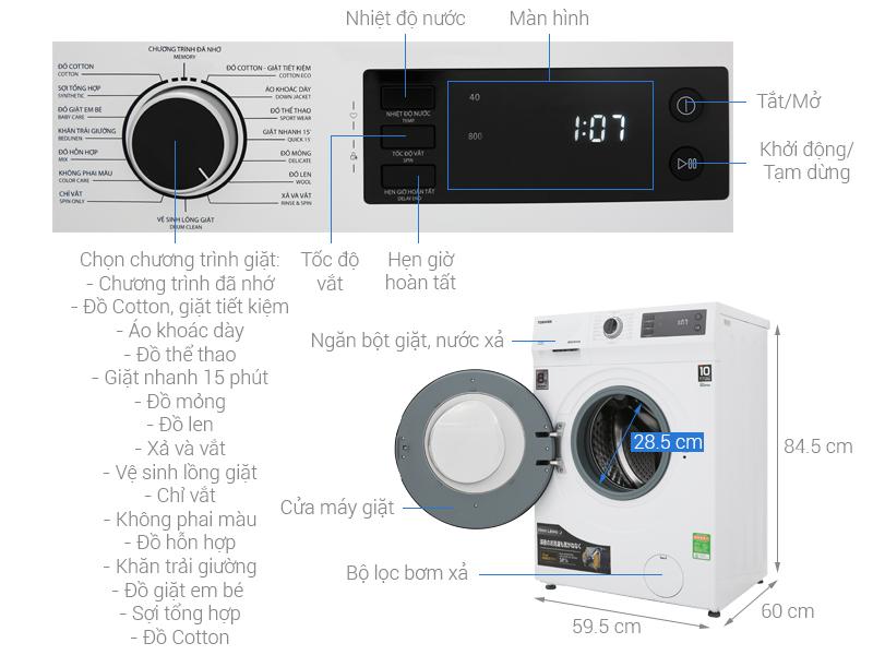 Thông số kỹ thuật Máy giặt Toshiba Inverter 8.5 Kg TW-BH95S2V WK
