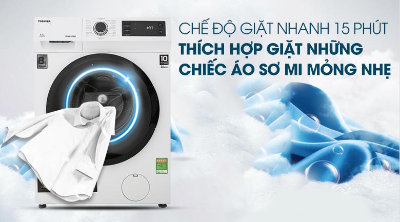 Giặt nhanh 15 phút - Máy giặt Toshiba Inverter 8.5 Kg TW-BH95S2V WK