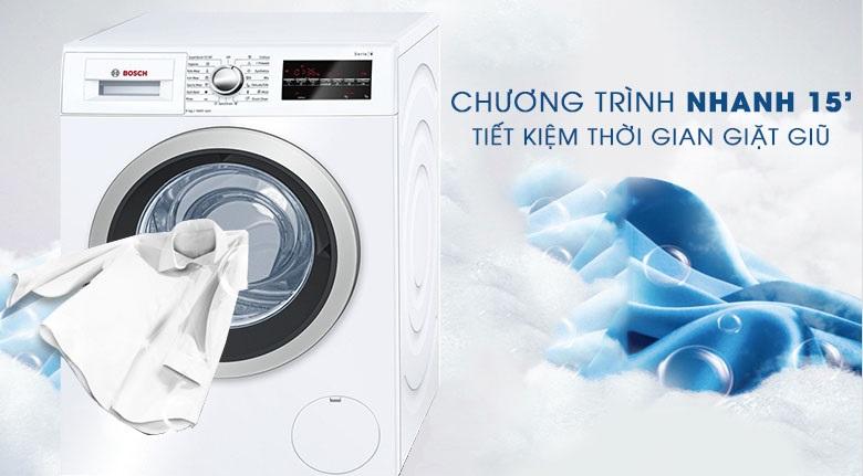 Giặt nhanh 15 phút - Máy giặt Bosch Inverter 8 Kg WAT24480SG