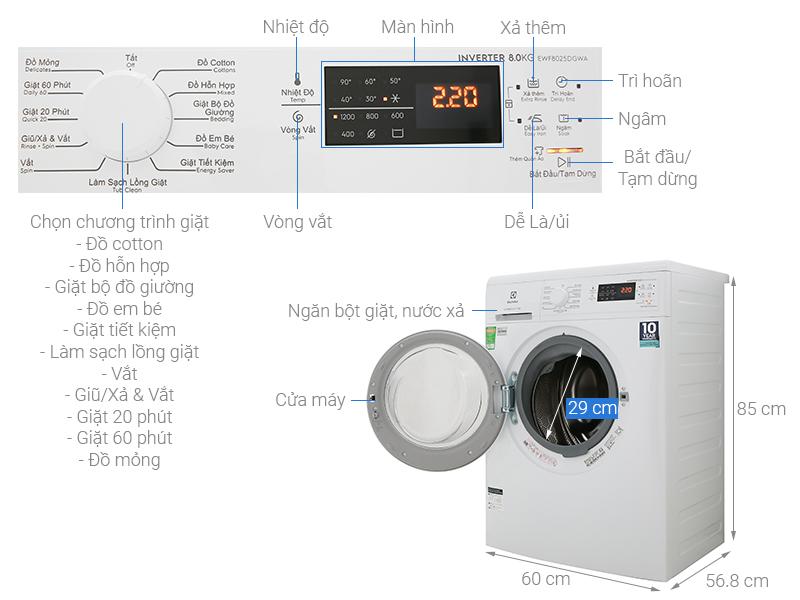 Thông số kỹ thuật Máy giặt Electrolux Inverter 8 Kg EWF8025DGWA
