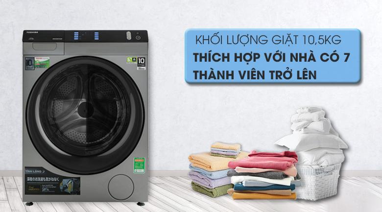 Máy giặt Toshiba Inverter 10.5 Kg TW-BH115W4V (SK) - Khối lượng giặt