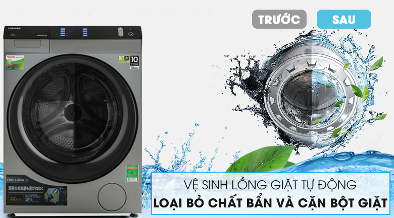 Máy giặt Toshiba Inverter 10.5 Kg TW-BH115W4V (SK) - Tự vệ sinh lồng giặt
