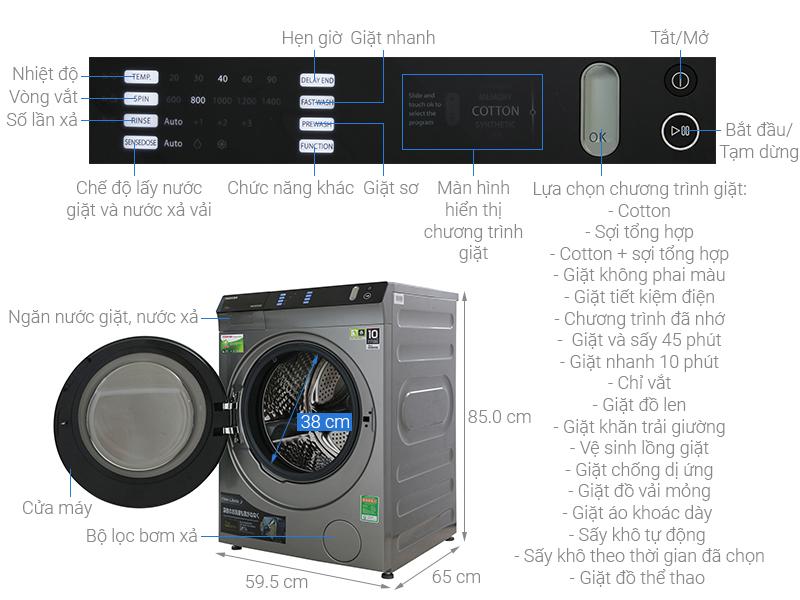 Thông số kỹ thuật Máy giặt sấy Toshiba Inverter 8 Kg TWD-BH90W4V (SK)