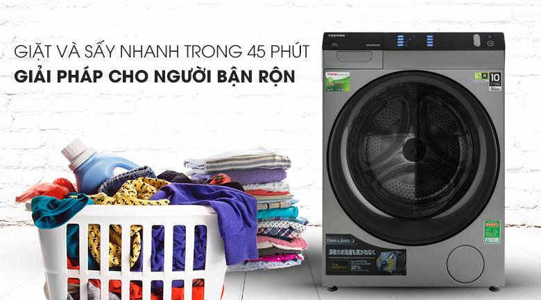 Giặt sấy nhanh - Máy giặt sấy Toshiba Inverter 8 Kg TWD-BH90W4V