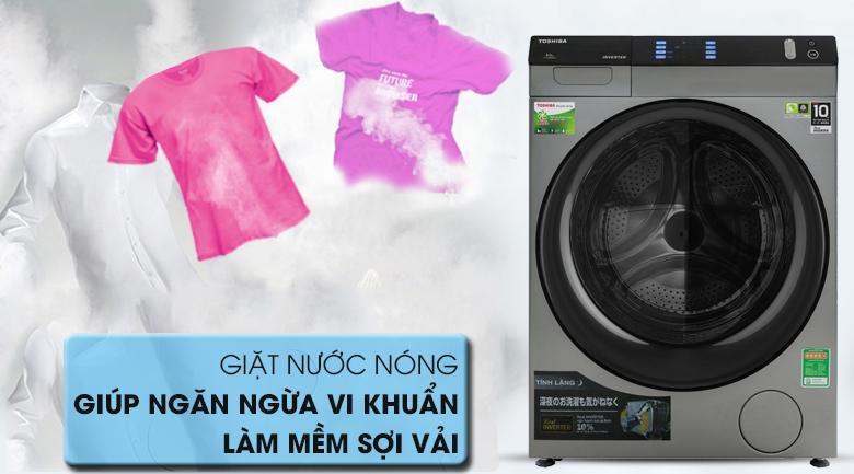 Giặt nước nóng - Máy giặt sấy Toshiba Inverter 8 Kg TWD-BH90W4V