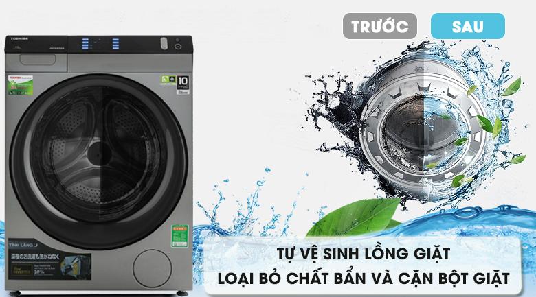 Vệ sinh lồng giặt - Máy giặt sấy Toshiba Inverter 8 Kg TWD-BH90W4V