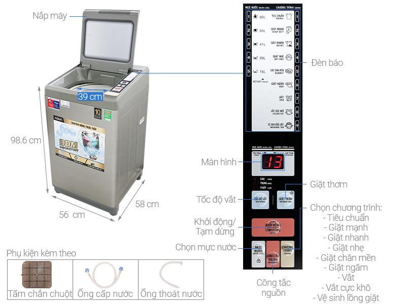 Thông số kỹ thuật Máy giặt Aqua Inverter 9 Kg AQW-DK90CT S