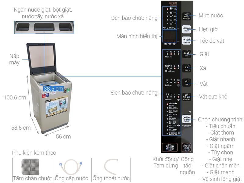Thông số kỹ thuật Máy giặt Aqua Inverter 9 KG AQW-D90CT N