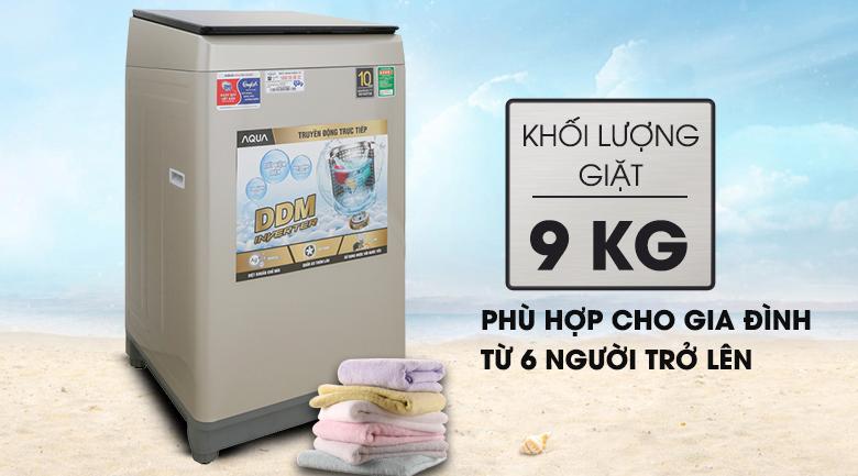 Khối lượng giặt 9 kg - Máy giặt Aqua Inverter 9 KG AQW-D90CT N