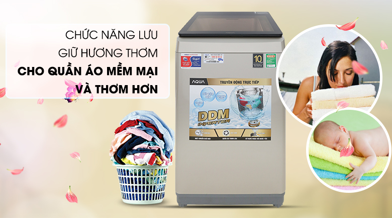 Tính năng lưu giữ hương thơm - Máy giặt Aqua Inverter 9 KG AQW-D90CT N