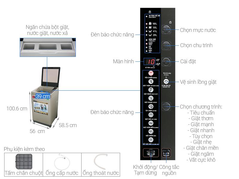 Thông số kỹ thuật Máy giặt AQUA 9 Kg AQW-W90CT N