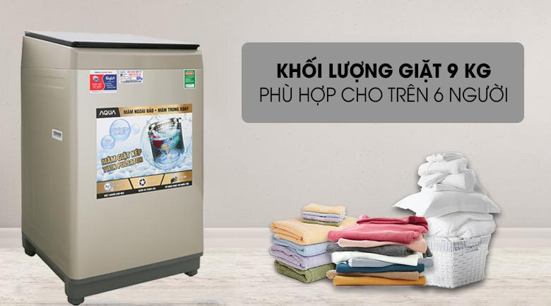 Khối lượng giặt 9kg - Máy giặt AQUA 9 Kg AQW-W90CT N Mẫu 2019