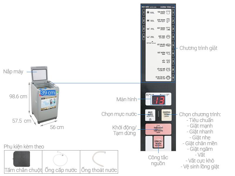 Thông số kỹ thuật Máy giặt Aqua 9 Kg AQW-S90CT H2