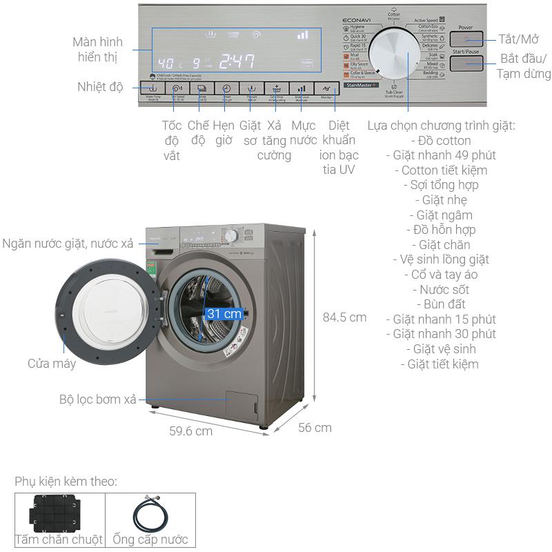 Thông số kỹ thuật Máy giặt Panasonic Inverter 9 Kg NA-129VX6LV2