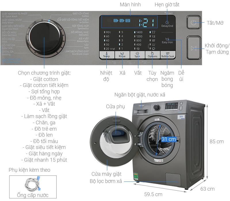 Thông số kỹ thuật Máy giặt Samsung Addwash Inverter 10 kg WW10K54E0UX/SV
