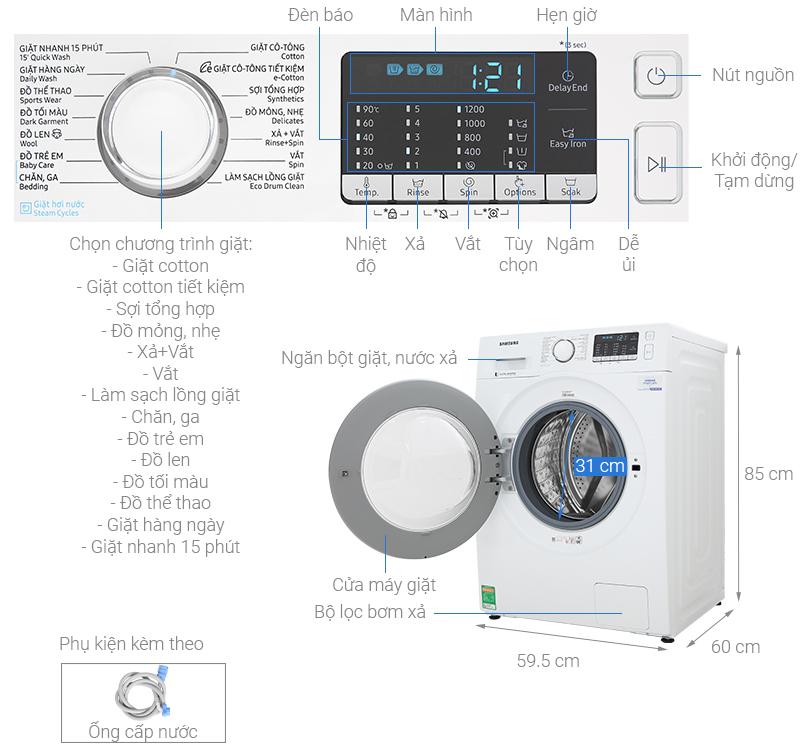 Thông số kỹ thuật Máy giặt Samsung Inverter 8 kg WW80J52G0KW/SV