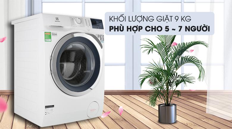 Khối lượng giặt 9kg - Máy giặt Electrolux Inverter 9 kg EWF9024BDWA Mẫu 2019