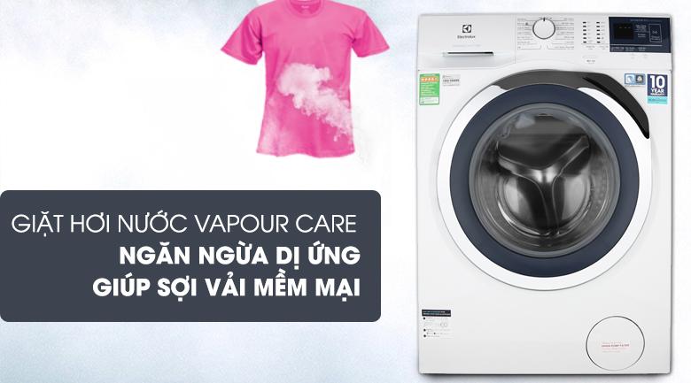 Giặt hơi nước Vapour Care ngăn ngừa dị ứng, làm mềm sợi vải - Máy giặt Electrolux Inverter 9 kg EWF9024BDWA Mẫu 2019