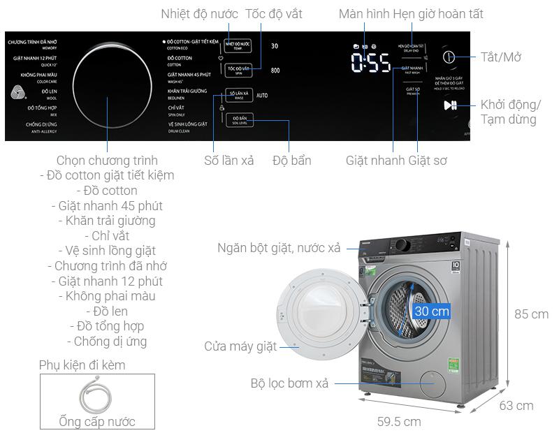Thông số kỹ thuật Máy giặt Toshiba Inverter 9.5 kg TW-BH105M4V SK