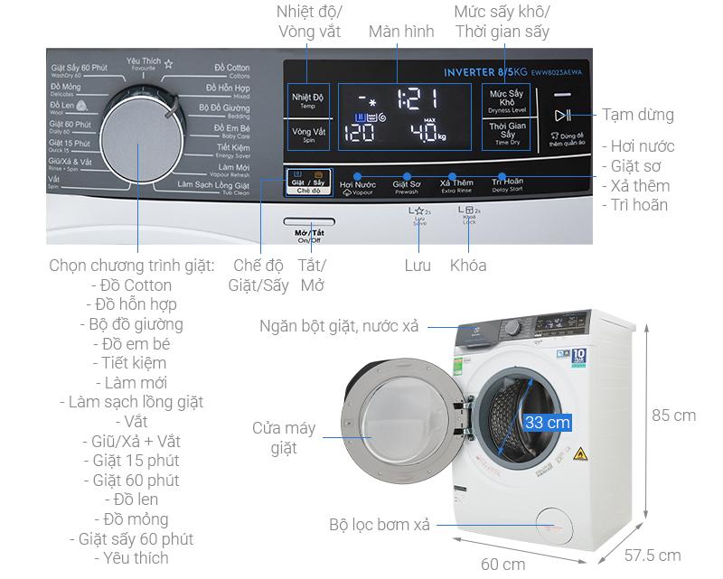 Thông số kỹ thuật Máy giặt sấy Electrolux Inverter 8 kg EWW8023AEWA