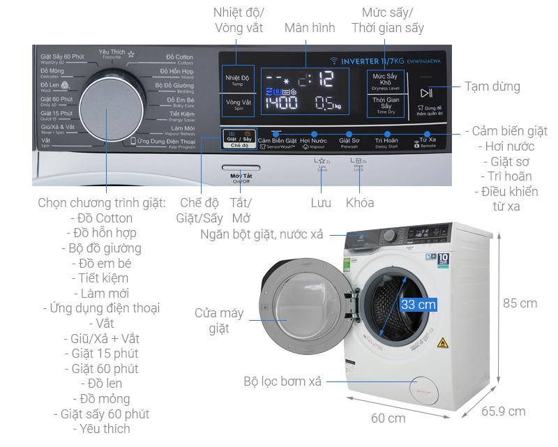 Thông số kỹ thuật Máy giặt sấy Electrolux Inverter 11 kg EWW1141AEWA